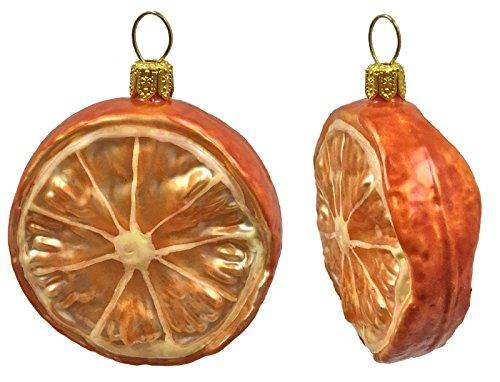 Pinnacle Peak Trading Company Slice of Mandarin Orange Citrus Fruit Polish Glass Christmas Ornament Set of 2