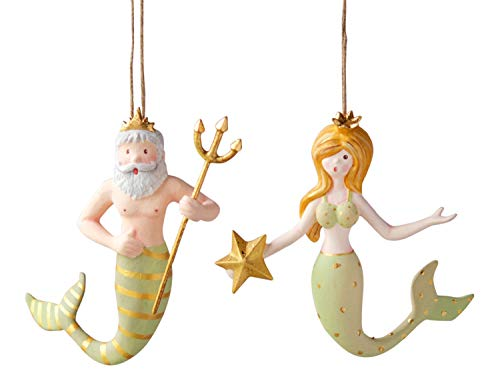 One Hundred 80 Degrees Blonde Mermaid and King Neptune Christmas Holiday Ornaments Set of 2
