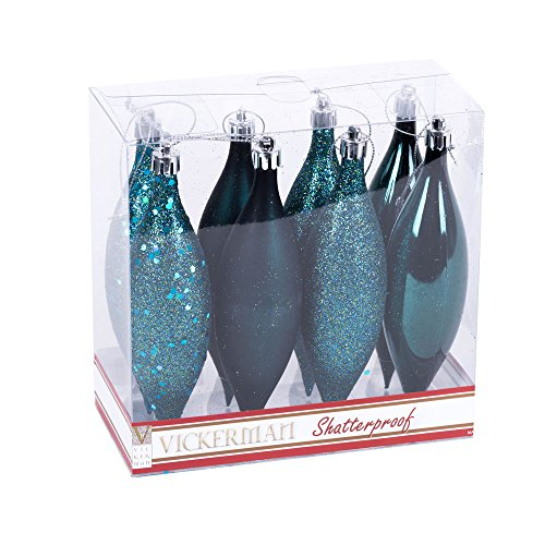 Vickerman N500162 Shatterproof Drop Ornament with 4 Separate Finishes (shiny, matte, glitter and sequin) in 8 per box, 5.5″, Sea Blue
