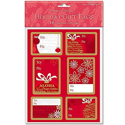 Island Ornament 18 Pack Adhesive Hawaiian Christmas Gift Tag Labels