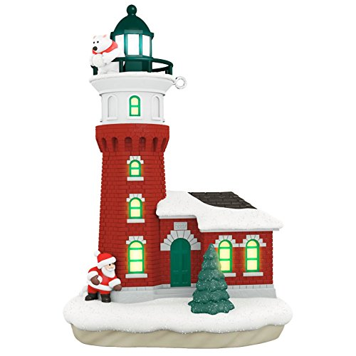 Santa and Polar Bear Holiday Lighthouse Ornament With Light