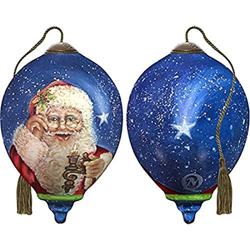 Ne'Qwa Art Hand Painted Blown Glass Magic of Christmas Santa Ornament, Multicolor