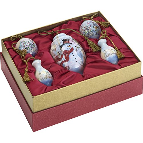 Ne'Qwa Art Hand Painted Blown Glass Birch Forest Snowman Gift Set (Set of 5), Multicolor