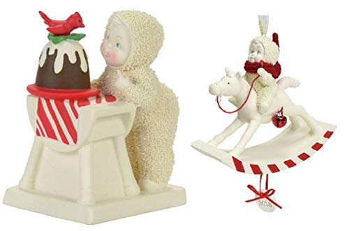 DHE Department 56 Christmas Snowbabies Bundle with Tasting The Pudding Figurine and Peppermint Pony Ornament