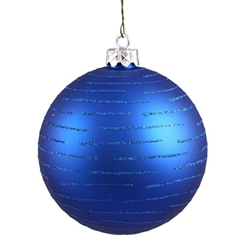 Vickerman 24687 – 4.75″ Blue Glitter Ball Christmas Tree Ornament (2 pack) (N111202)