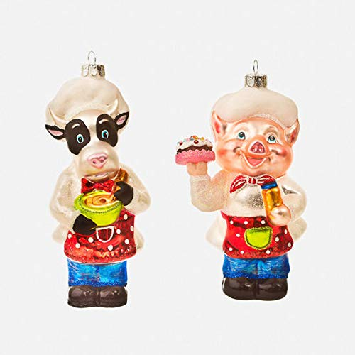 One Hundred 80 Degrees Glass Ornament (Pig and Cow Chef Set of 2)