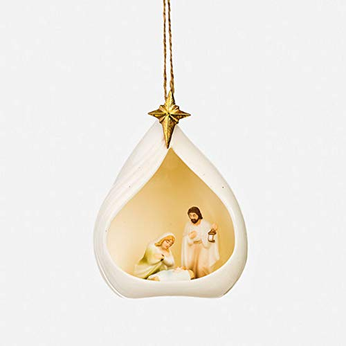 180 Degrees 4.5″ Porcelain Nativity Manager Scene Ornament