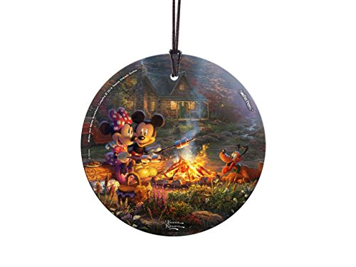 Trend Setters Disney – Mickey and Minnie Sweetheart Campfire – Thomas Kinkade Studios – Suncatcher Hanging Glass Collectible