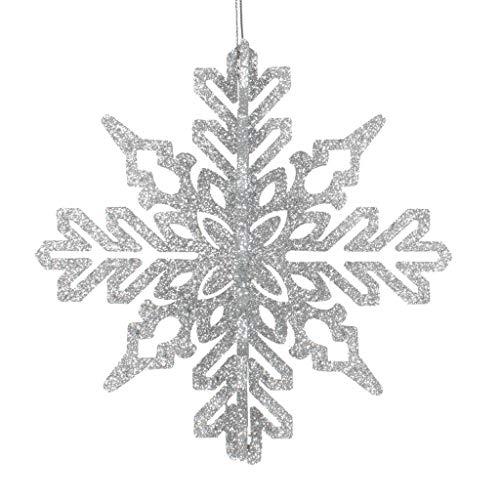 Vickerman 540831-6″ Silver 3D Glitter Snowflake Christmas Tree Ornament (3 pack) (M187307)