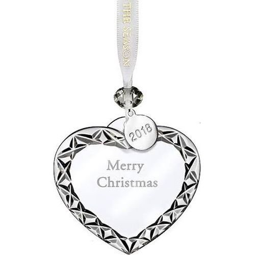 Waterford Crystal 2018 Heart Ornament Merry Christmas 3″