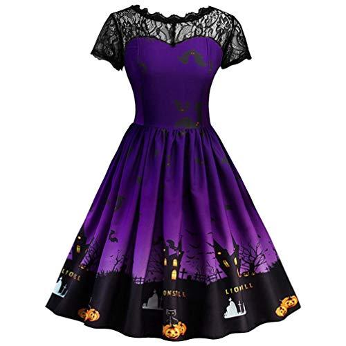 GREFER Women Short Sleeve A Line Dress Retro Lace Vintage Dress Pumpkin Swing Dress Halloween Costumes