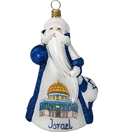 Joy To The World Glass Ornament Israel Santa