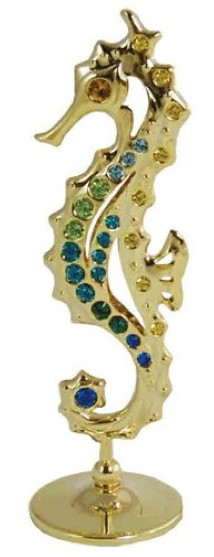 24K Gold Plated Seahorse Free Standing Color Crystal – Multicolored – Swarovski Crystal
