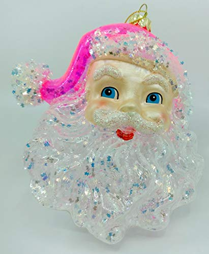 One Hundred 80 Degrees 5.5″ Large Cheerful Santa Claus Father Christmas Clear Snowflake Christmas Tree Ornament (Pink)