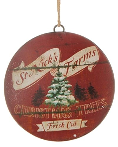 Metal Country Christmas Disc Ornament 6″ Buyer Chooses Red or Green (RED)
