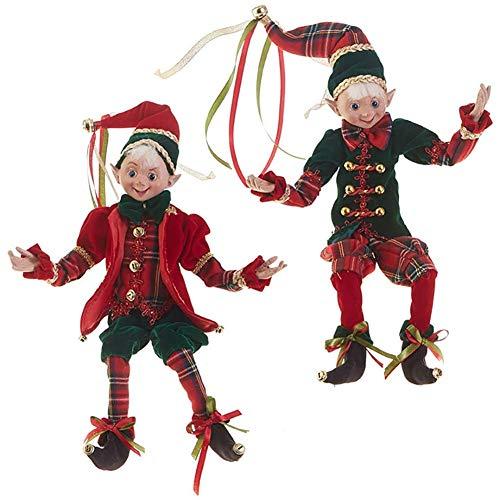 RAZ Imports SET OF 2 Raz 16″ Red and Green Plaid Posable Elf Christmas Figure 3802294