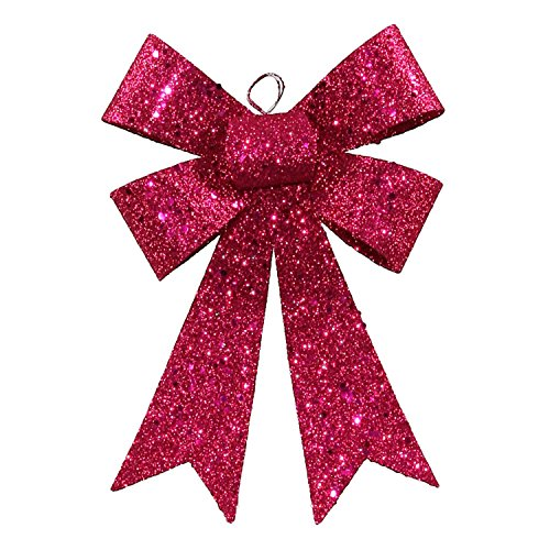 Vickerman 7″ Cerise Pink Sequin and Glitter Bow Christmas Ornament