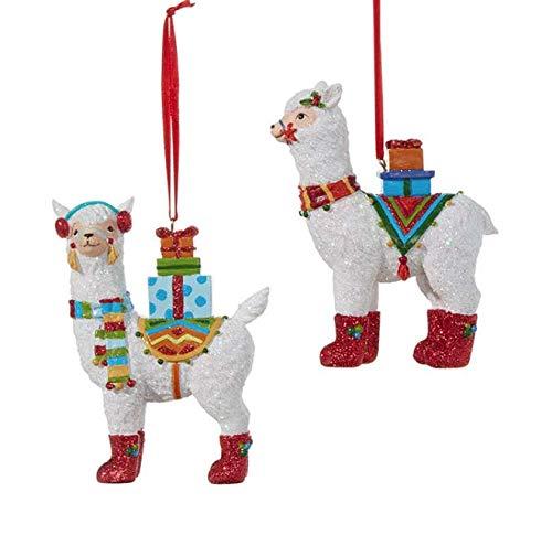 RAZ Imports Set Two 4.5″ Llama Christmas Ornament 3807008
