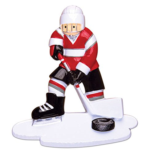 Ornaments by Elves Personalized Ice Hockey Player Christmas Ornament for Tree 2018 – Athlete Boy Jersey Helmet with Stick Skate – Hobby School Male Profession Winter Sport Man – Free Customization