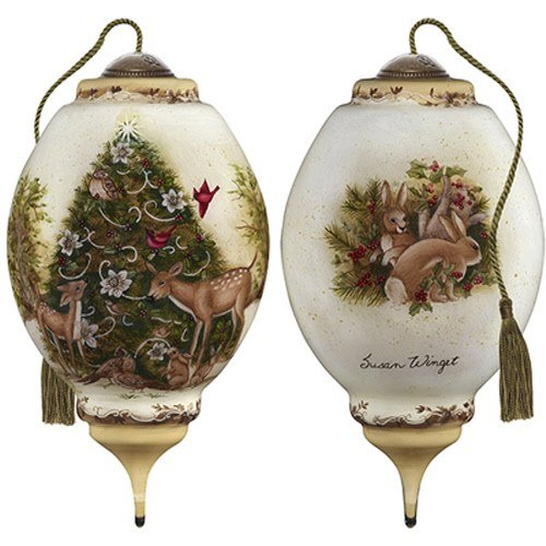 Ne'Qwa Art Hand Painted Blown Glass Woodland Christmas Ornament, Multicolor
