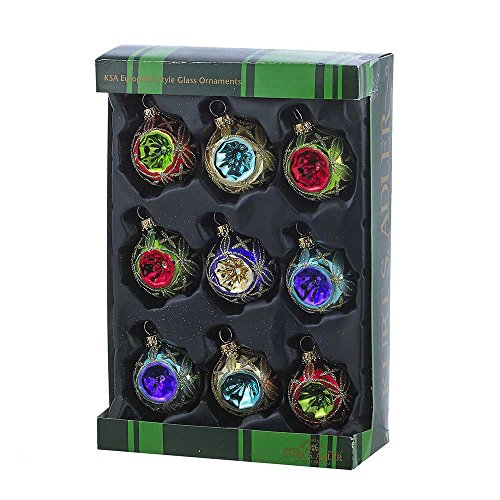 Kurt Adler GG0664 45mm Glass Multicolored Reflector Ornament Set of 9