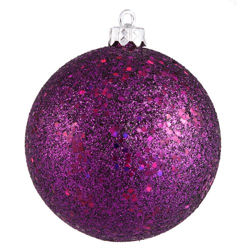 Vickerman Sequin Finish Christmas Ball Ornament Seamless Shatterproof with Drilled Cap, 4 per Bag, 6″, Plum