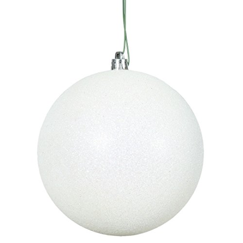 Vickerman N593001DG Glitter Ball Ornament with Shatterproof UV Resistant, Pre-drilled cap Secured & 6″ of Green Floral Wire, 12″, White