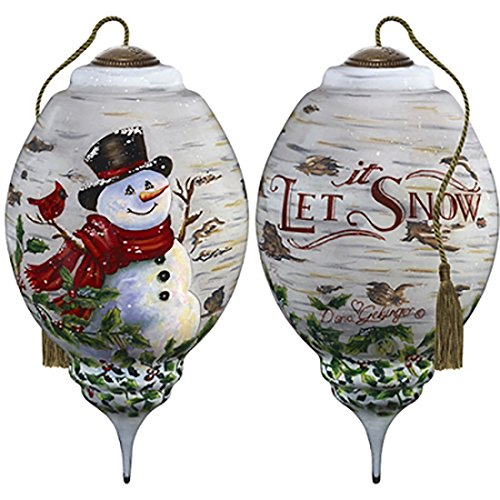 Ne'Qwa Art Hand Painted Blown Glass Winter Birch Snowman Ornament, Multicolor