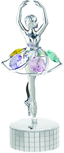 Chrome Plated Ballerina Music Box with Mixed Swarovski Element Crystal – Also Suitable for All Occasions