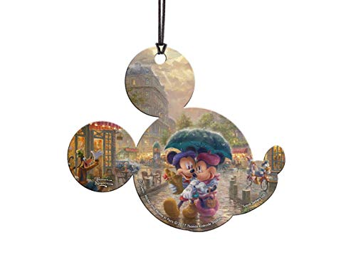 Trend Setters Disney – Mickey and Minnie in Paris – Thomas Kinkade – Mickey Shaped Hanging Acrylic Decoration