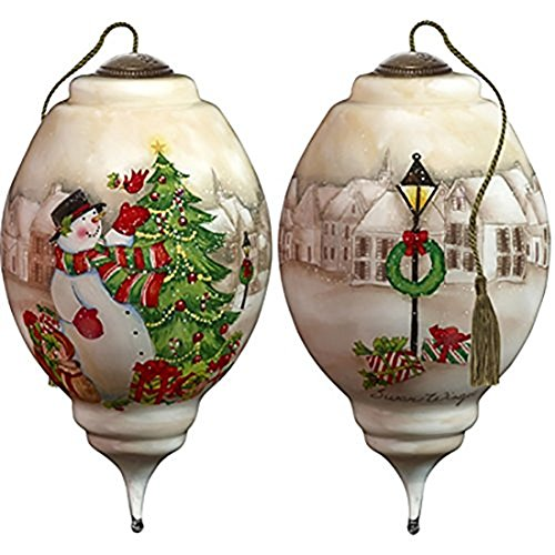 Ne'Qwa Art Hand Painted Blown Glass I'll Be Home for Christmas Snowman Ornament, Multicolor