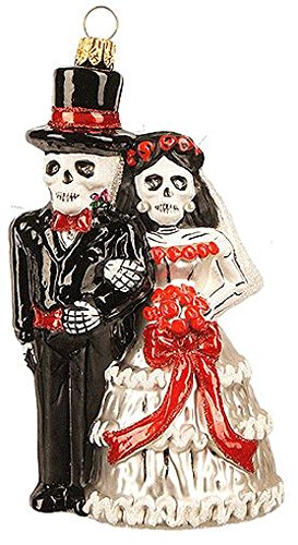 Pinnacle Peak Trading Company Skeleton Wedding Day of The Dead Couple Polish Glass Christmas Tree Ornament