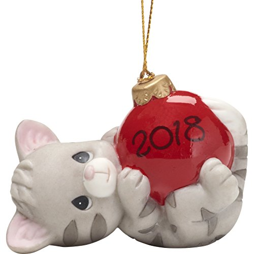 Precious Moments May Your Holidays Be Purr-FECT Dated 2018 Cat Ornament, Multicolor