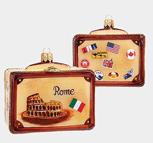 Pinnacle Peak Trading Company Rome Italy Vintage Style Travel Suitcase Glass Christmas Ornament ONE Decoration