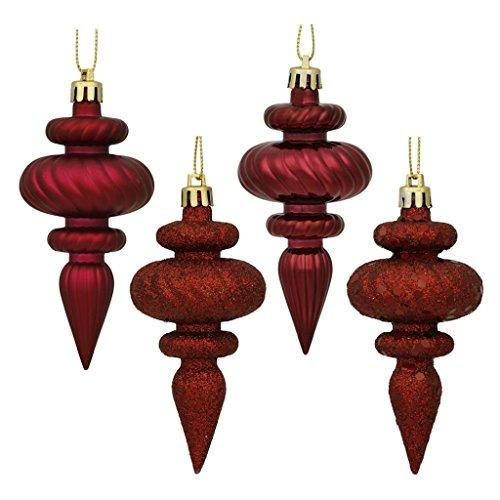 Vickerman 480182-4 Burgundy 4 Assorted Finish Finial Christmas Tree Ornament (Set of 8) (N500065)