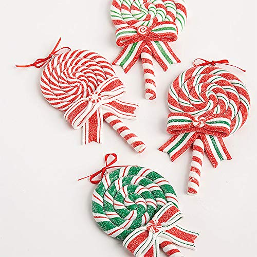 RAZ Imports SET OF 4 Raz 5″ Peppermint Lollipop Christmas Ornament 3815536