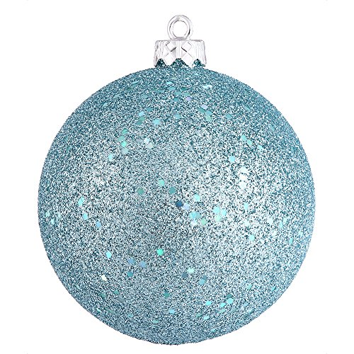 Vickerman Sequin Finish Seamless Shatterproof Christmas Ball Ornament Drilled Cap, 6 per Bag, 4″, Baby Blue