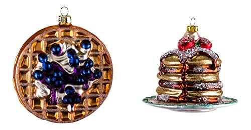 One Hundred 80 Degrees Stack of Pancakes and Waffle Blueberries Christmas Holiday Ornaments Set of 2