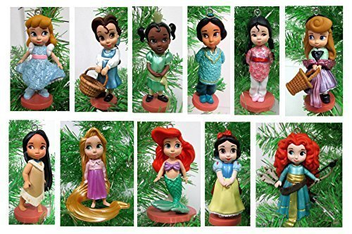Disney Toddler Baby Princess Set of 11 Christmas Tree Ornaments with Merida, Ariel, Snow White, Rapunzel, Mulan, Jasmine, Cinderella