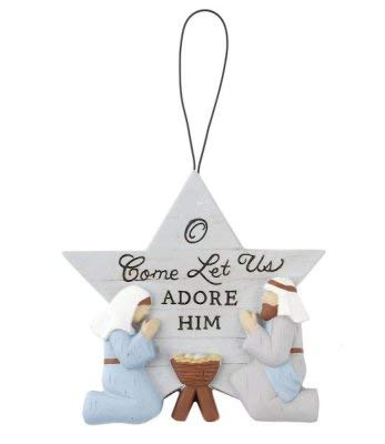 Blossom Bucket 188-52037 O Come Let Us Adore Him Holy Family Deb Strain Star Ornament
