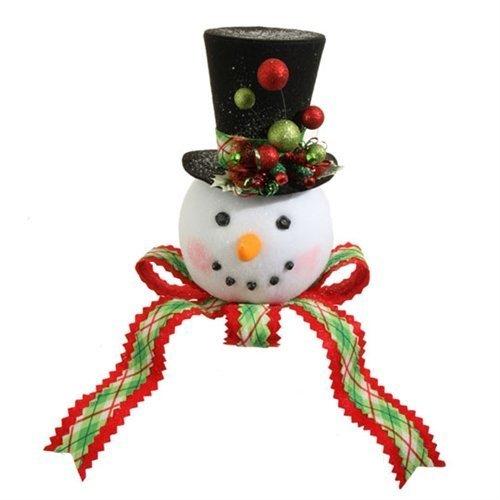 RAZ 14″ PLAID SNOWMAN HEAD Tree Topper