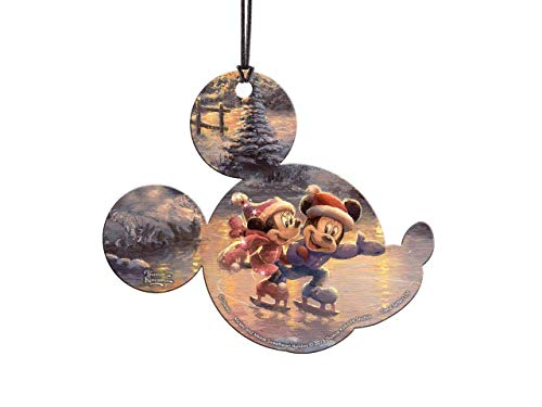 Trend Setters Disney – Mickey and Minnie Sweetheart Holiday – Thomas Kinkade – Mickey Shaped Hanging Acrylic Decoration