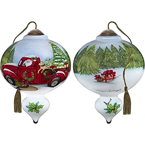 Ne'Qwa Art Hand Painted Blown Glass Santa's Special Delivery Ornament, Multicolor