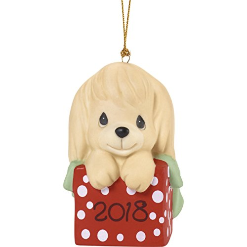 "Precious Moments""Have A Paw-FECT Christmas Dated 2018 Dog Ornament, Multicolor"
