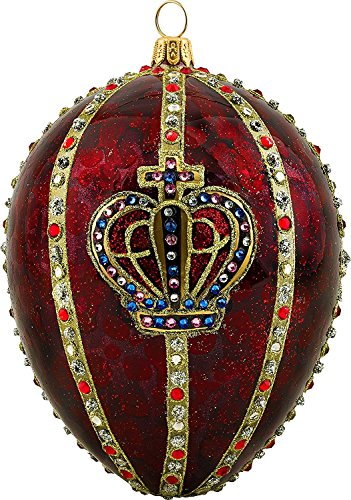 Joy To The World Glitterazzi Red Crown Jeweled Egg Polish Glass Christmas Tree Ornament Royal New