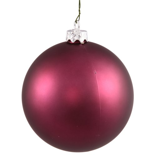 Vickerman Matte Finish Seamless Shatterproof Christmas Ball Ornament, UV Resistant with Drilled Cap, 8″, Plum