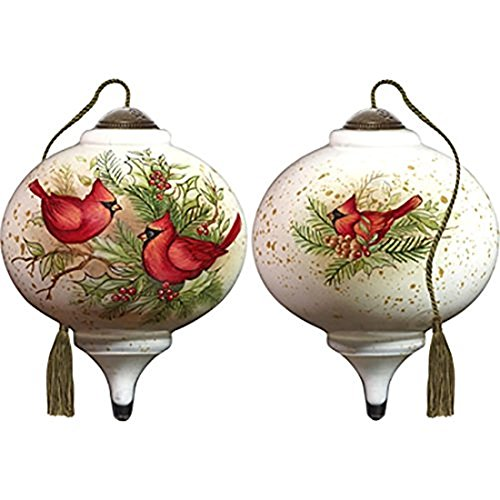 Ne'Qwa Art Hand Painted Blown Glass Woodland Cardinals Ornament, Multicolor