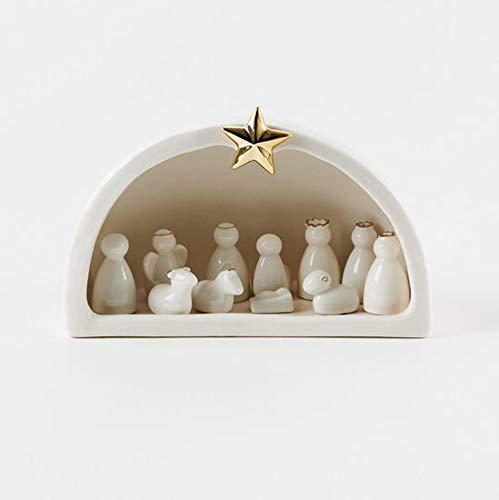 180 Degrees 11-Piece Porcelain Creche Nativity Scene Set, 4.5″ x 7.5″, White