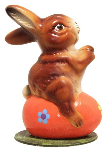 Ino Schaller Rabbit Sitting on Orange Easter Egg Paper Mache Candy Container