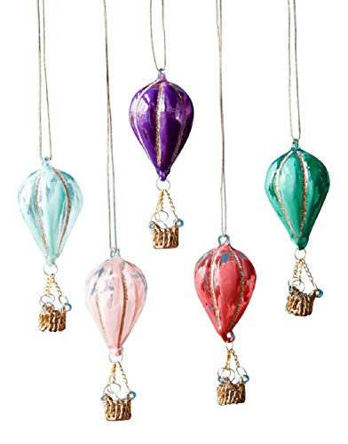 One Hundred 80 Degrees Colorful Hot Air Balloons Christmas Holiday Ornaments Set of 5 Glass